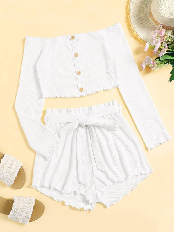 Single Breasted Ribbed Knit Bardot Top & Belted Shorts Set