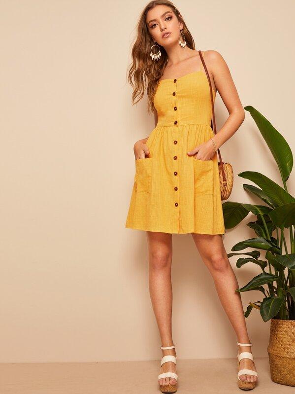 Pocket Patch Button Front Shirred Slip Dress, Luiza