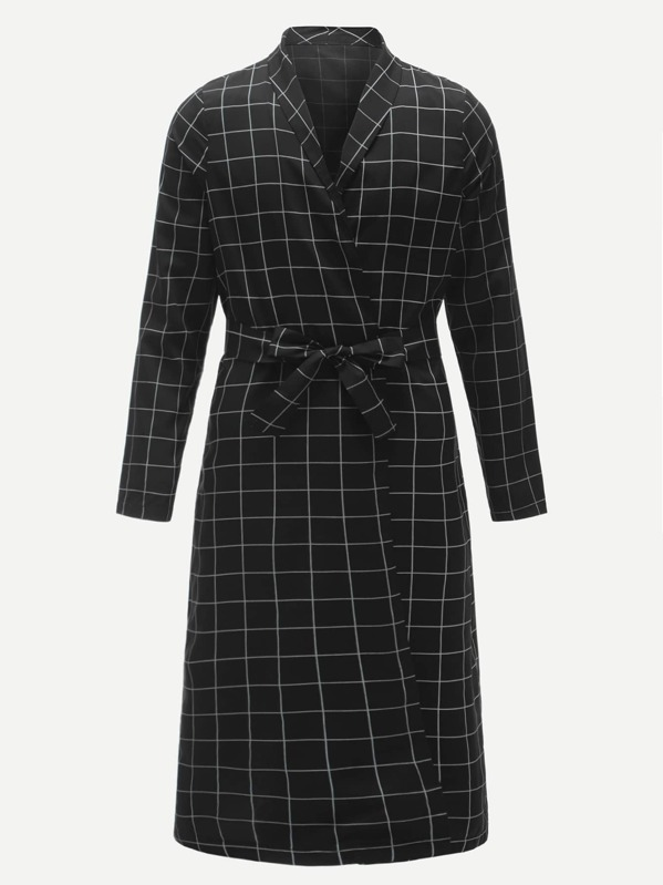 Men Self Belted Plaid Robe, null