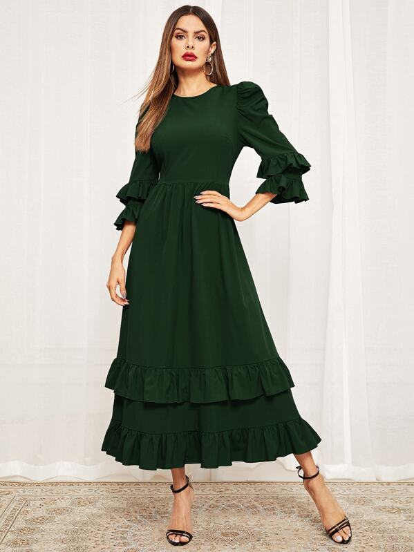 Bell Sleeve Layered Ruffle Solid Dress, Green, Andy