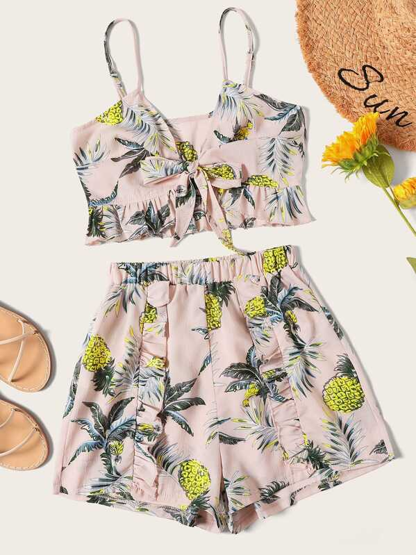 Pineapple Print Tie Front Cami Top With Shorts, null