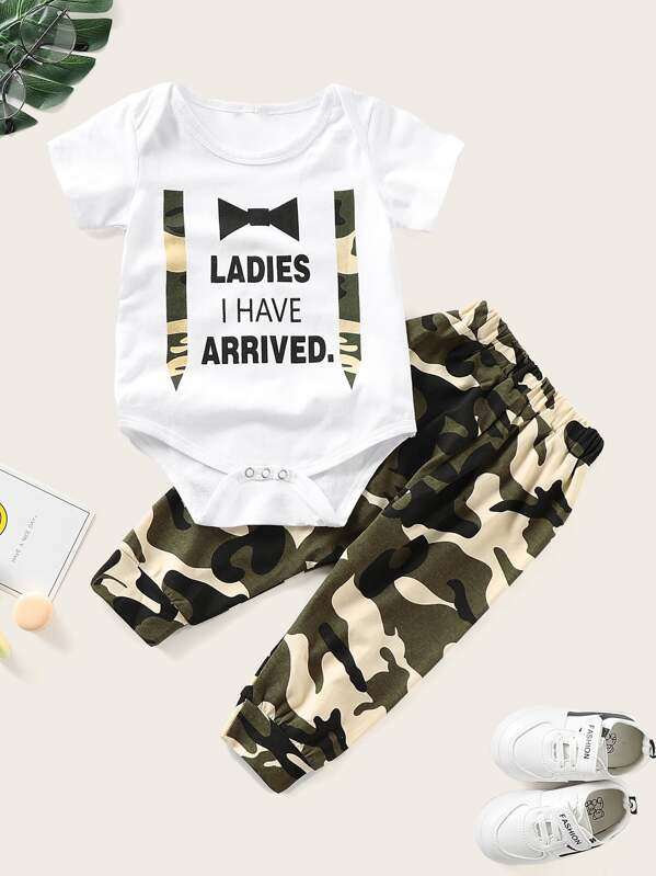 Baby Slogan Print Jumpsuit With Camo Pants