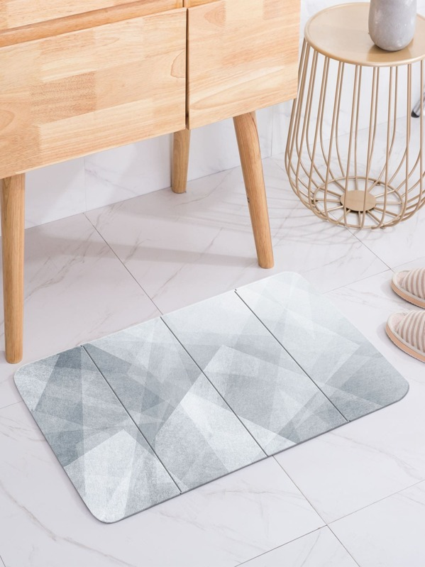 Geometric Pattern Print Floor Mat