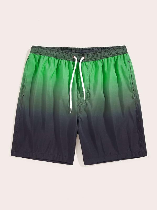 Men Drawstring Waist Contrast Ombre Pants