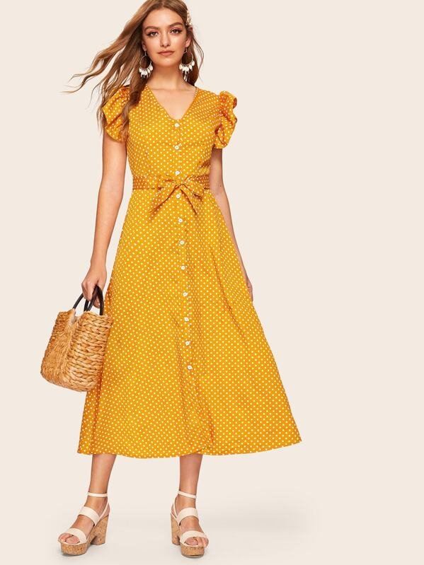 Polka Dot Ruffle Sleeve Self Tie Dress, Yellow, Luiza