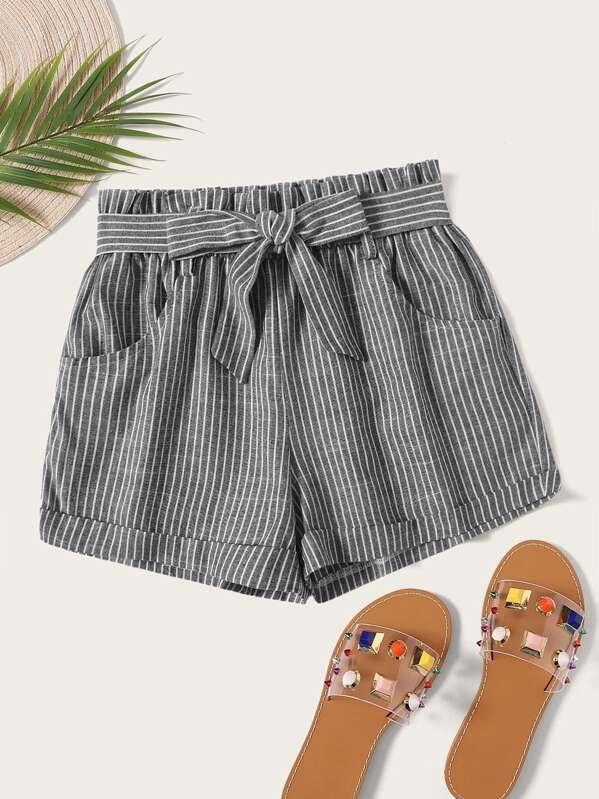 Striped Self Tie Shorts, Grey