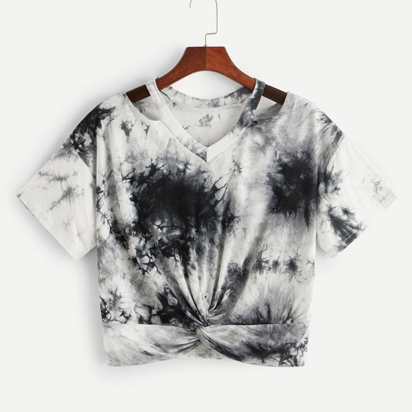 Plus Tie Dye Twist Front Tee, Black and white