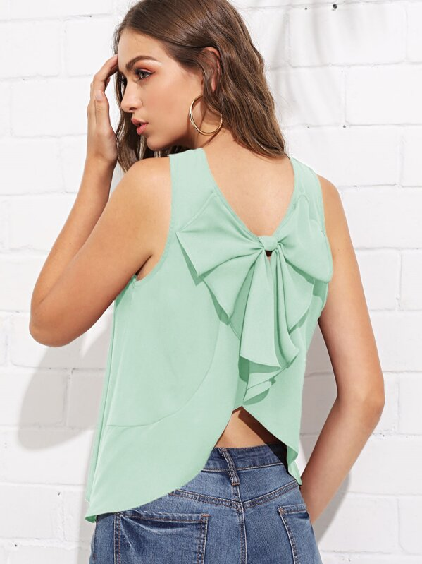 Exaggerate Bow Back Solid Top, Green, Luiza