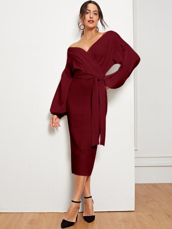 Drop Shoulder Lantern Sleeve Slit Hem Belted Dress, Mary P.