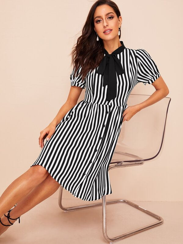 40s Tie Neck Single Breasted Striped Dress