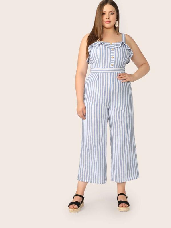 Plus Button Front Ruffle Trim Striped Jumpsuit, Bailey Carr