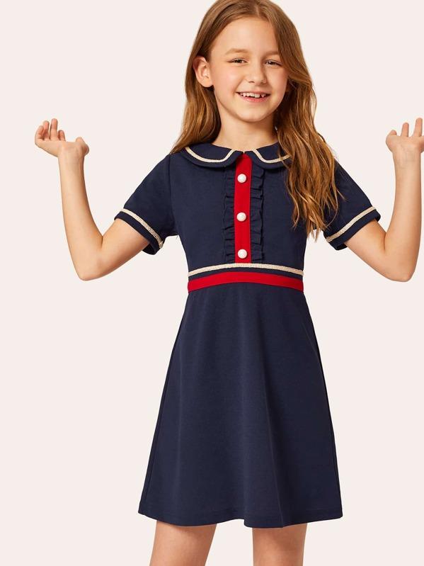 Girls Buttoned Front Ruffle Trim Striped Tape Detail Dress