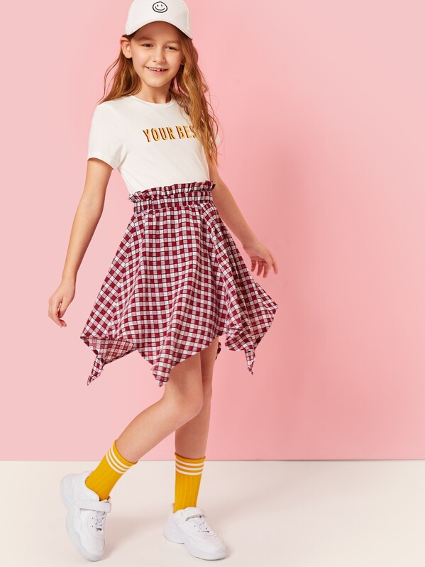 Girls Letter Print Top & Hanky Hem Gingham Skirt Set