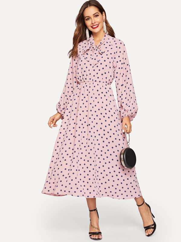 Tie Neck Lantern Sleeve Polka Dot Hijab Dress