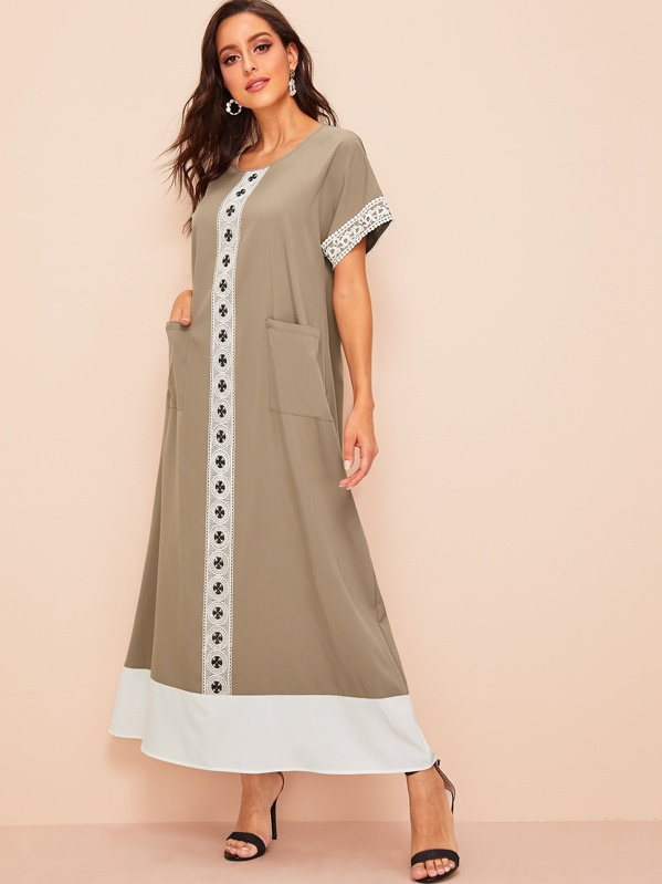 Lace Applique Pocket Front Hijab Dress, Mary P.