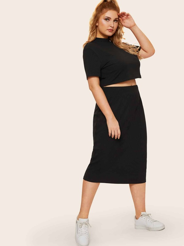 Plus High Neck Rib-knit Crop Top & Skirt Set, Nora