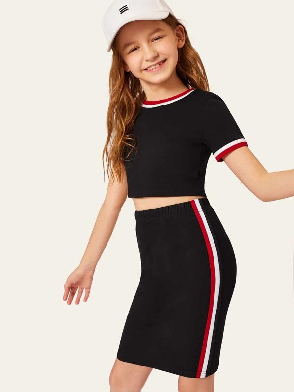 Girls Striped Neck & Cuff Top & Bodycon Skirt Set, Sashab