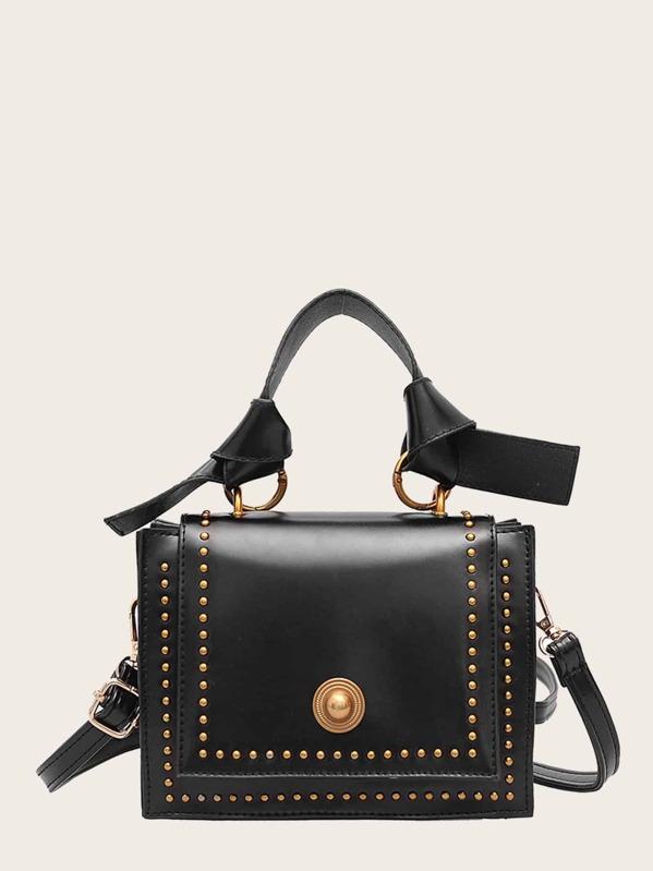 Studded Trim Knot Decor Bag