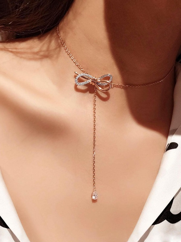 Bow Detail Lariat Necklace 1pc, null