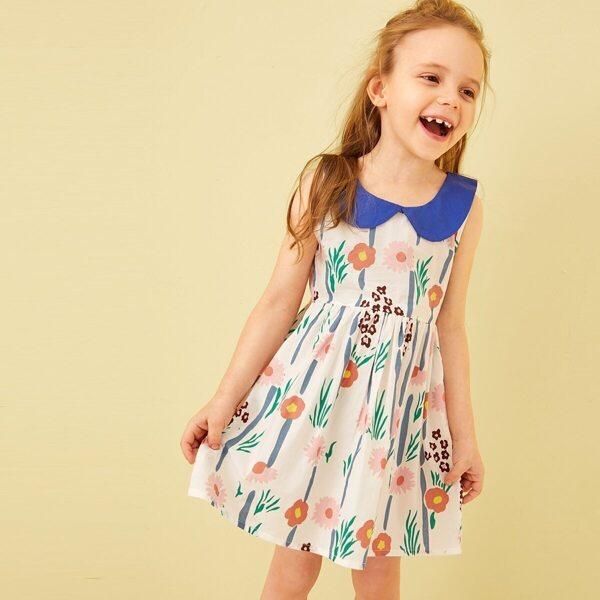 Toddler Girls Floral Print Contrast Collar A-line Dress