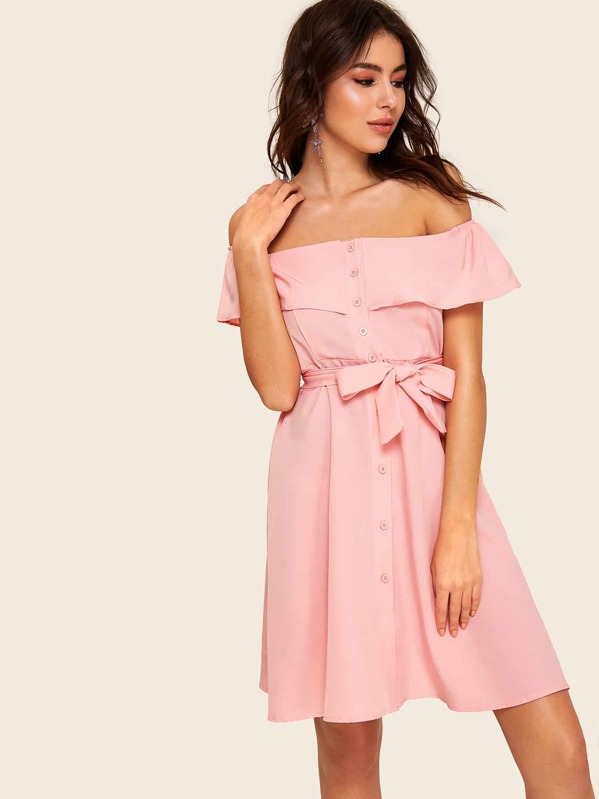 Off The Shoulder Flounce Trim Self Tie Dress, MARTINA