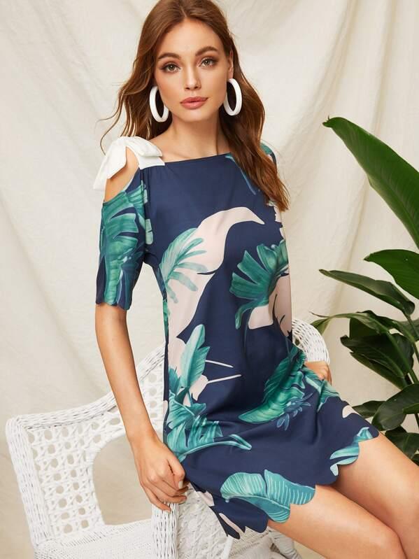 Tropical Print Knot Detail Asymmetrical Neck Dress, Multicolor, Kristina B