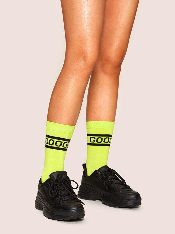 Neon Green Letter Pattern Socks, null