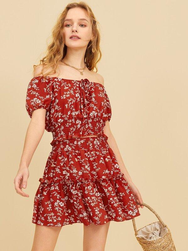 Ditsy Floral Print Drawstring Top With Ruffle Skirt, Sava