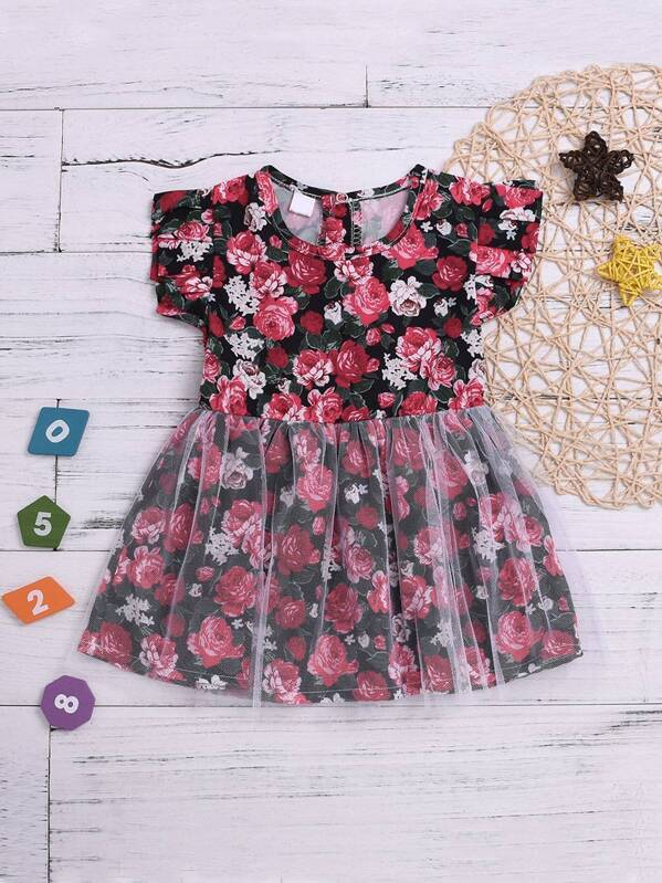 Baby Contrast Mesh Floral Print Dress