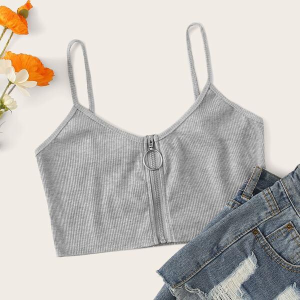 Zip Up Rib Knit Top, Grey