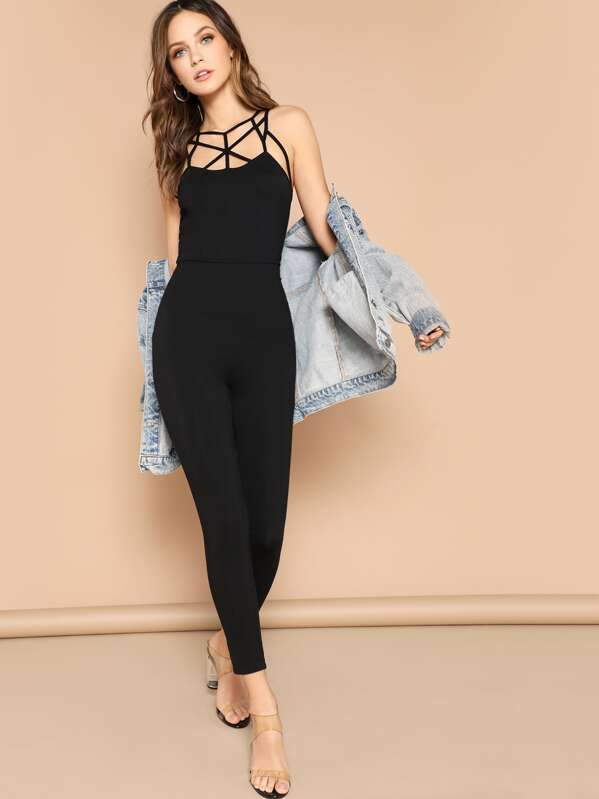 Cage Yoke Fitted Jumpsuit