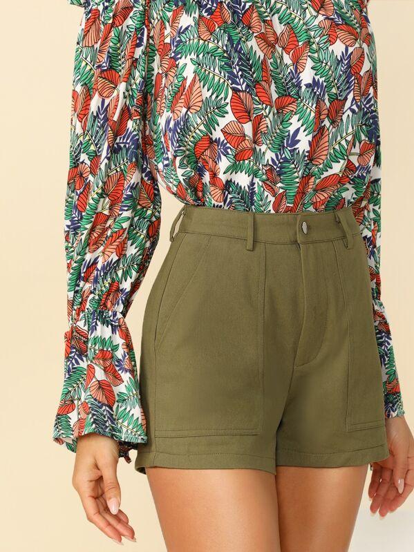 Patch Pocket Front Textured Shorts, Sarah Elainna