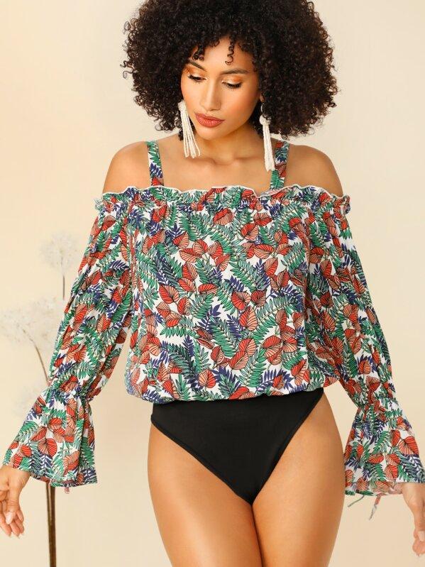 Блуза-боди с открытыми плечами тропическим принтом и оборками, Sarah Elainna
