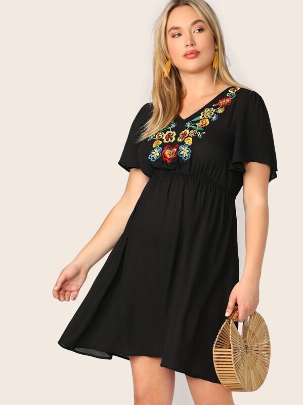 Plus V-neck Embroidery Floral Ruffle Shoulder Dress, Sydney Ness