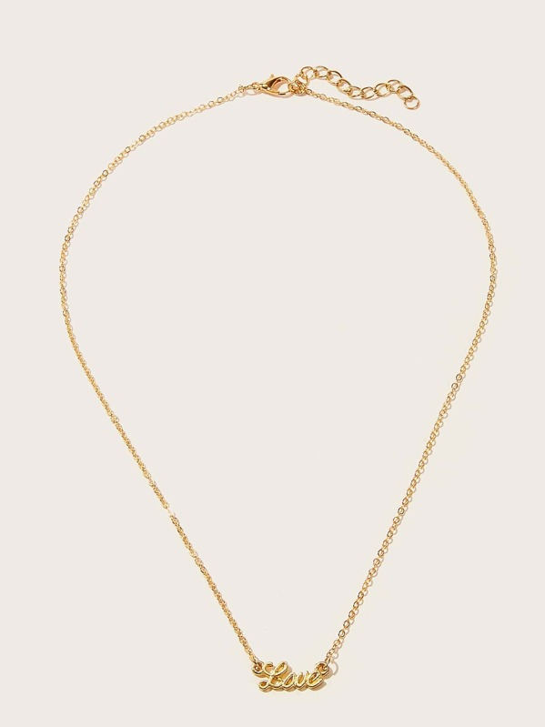 Letter Pendant Chain Necklace 1pc, null