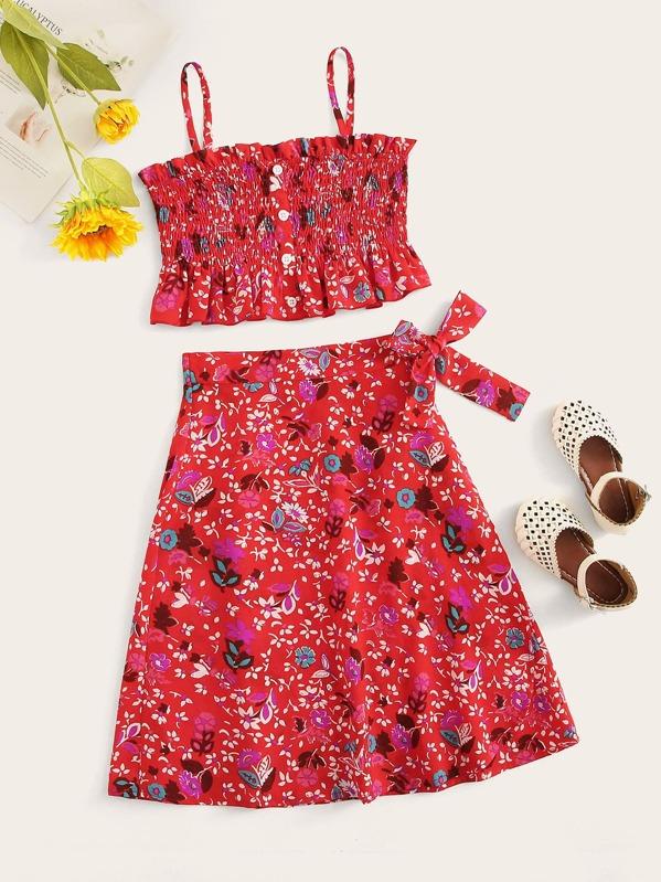 Girls Shirred Ruffle Hem Cami Top & Skirt Set, Red