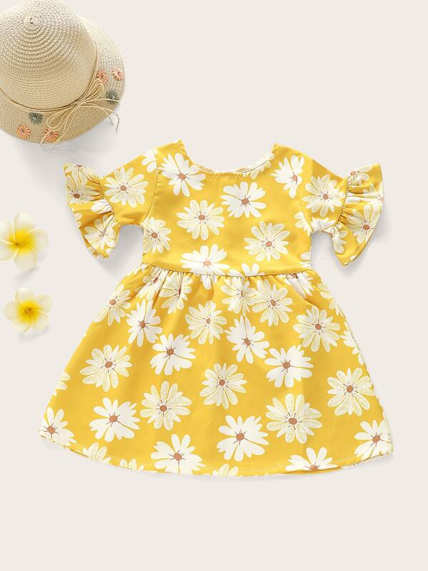 Toddler Girls Floral Print Flounce Sleeve A-line Dress, null