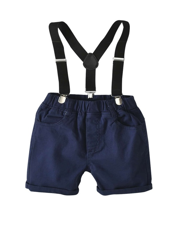 Toddler Boys Solid Shorts With Straps
