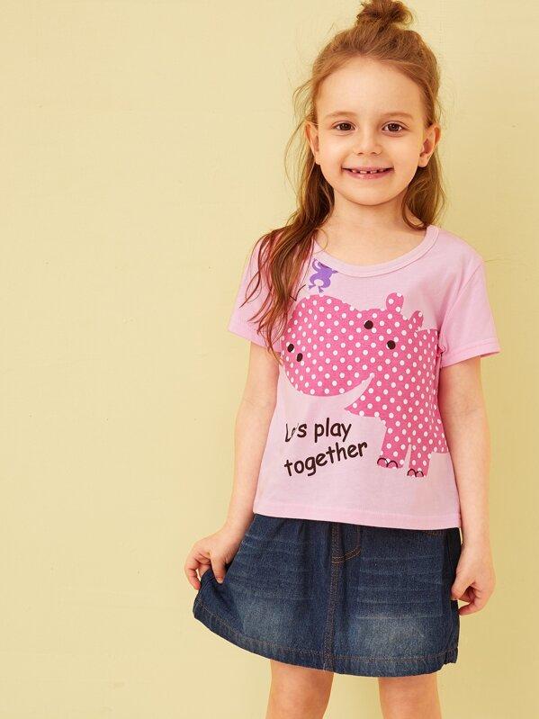 Футболка с графическим и текстовым принтом для маленьких девочек, Anastassiya