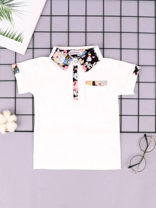 Toddler Boys Contrast Floral Print Polo Shirt