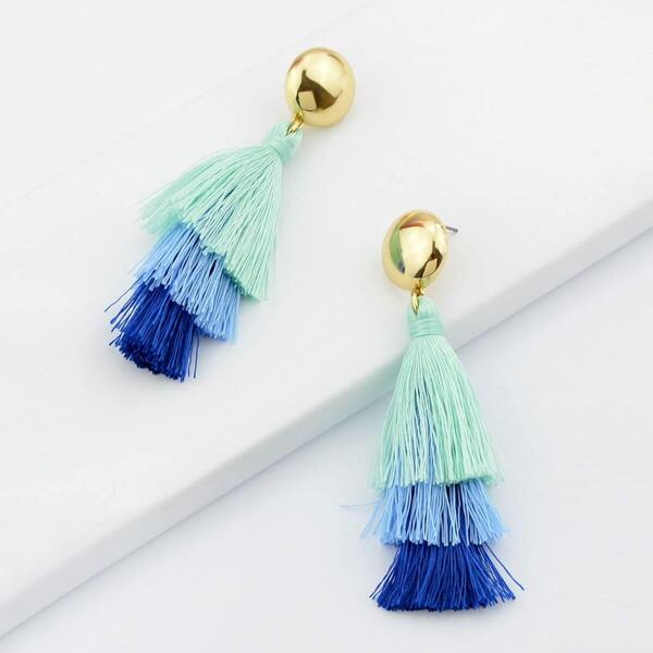 Blue Bohemian Style Ethnic Statement Tassel Drop Earrings