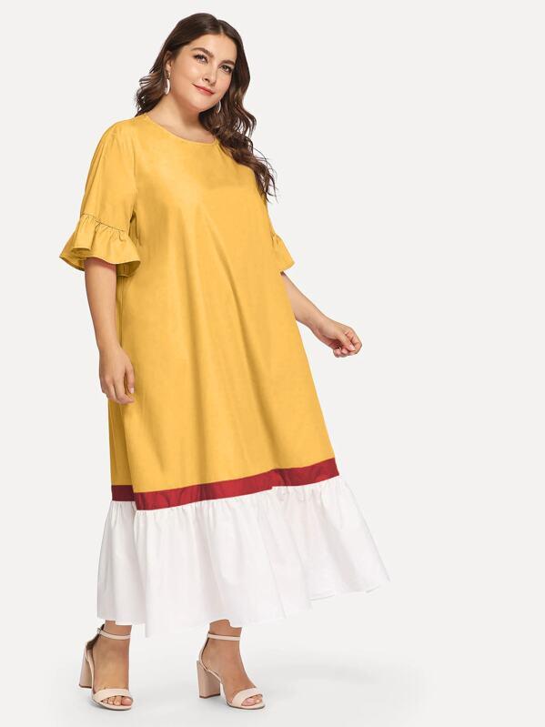 Plus Cut-and-sew Flounce Trim Dress, Franziska