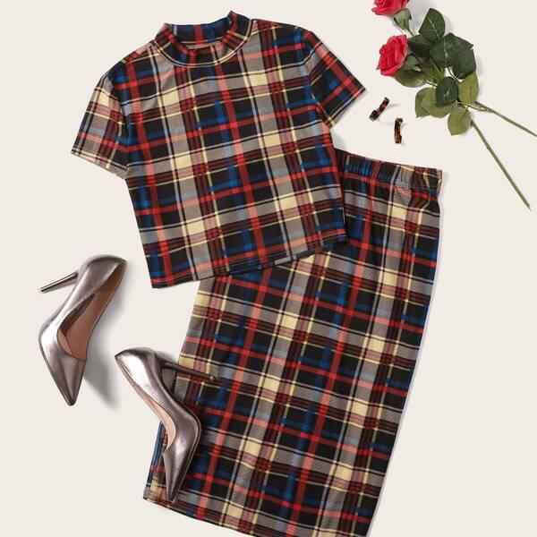 Mock-neck Crop Plaid Top & Pencil Skirt Set