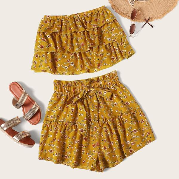 Layered Ruffle Strapless Top and Shorts Set, Yellow