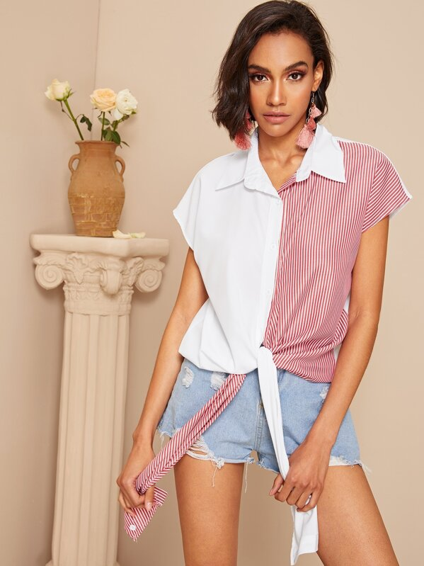 Contrast Panel Knot Striped Blouse, Liana