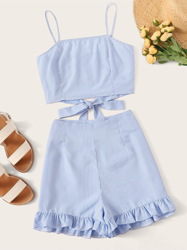 Knot Gingham Cami Top With Ruffle Hem Shorts, null