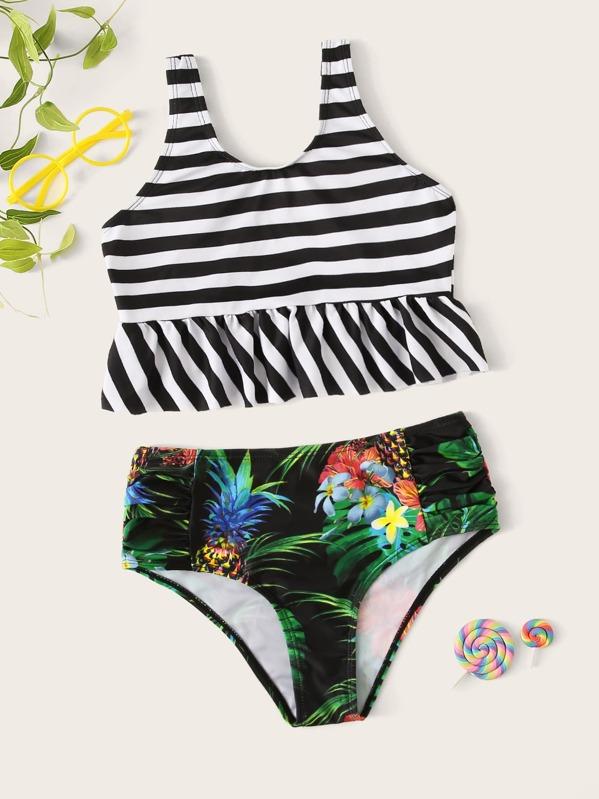 Girls Ruffle Top With Random Tropical Ruched Bikini, null