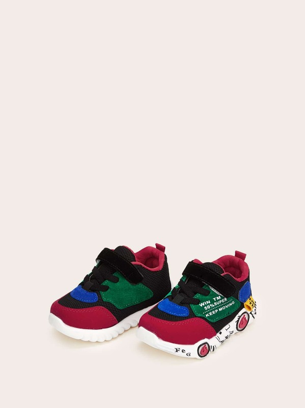 Baby Lace-up Velcro Strap Sneakers