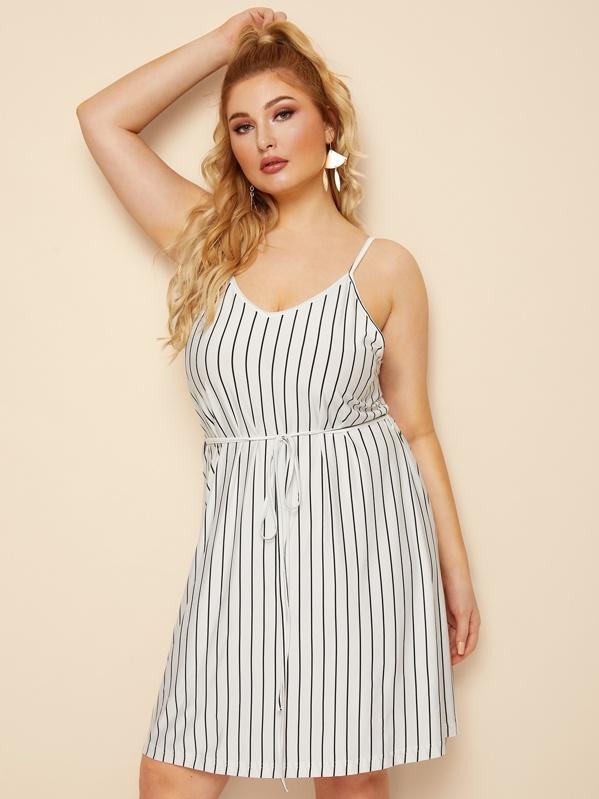 Plus Striped Self Tie Cami Dress, Black and white, Nora
