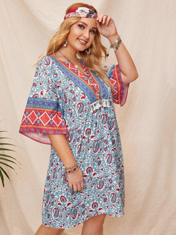 Plus Tribal Print Fringe Detail Dress, Multicolor, Nora